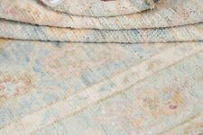 New Vegetable Dye All-Over Muted Pale Sky Blue Oushak Turkish Foyer Rug Wool 3x5