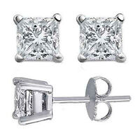 0.50CT PRINCESS CUT DIAMOND 14K WHITE GOLD OVER WOMENS SOLITAIRE STUDS EARRINGS
