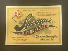 Sprenger Quality Excelled Beer Label / Irtp U-367 / Early 1930'S
