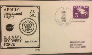 NAVAL SPACE BECK COVER #B731 :APOLLO AS 501 USS SABINE (AO-25) NOV 9,1967