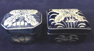 "A Pair Antique Maitland Smith Porcelain Trinket Box's 1.5""x2.5"" Thailand"