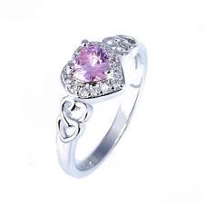 Heart Pink White Topaz Gemstone Silver Fashion Women Ring Sz 7