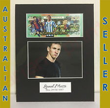 Lionel Messi - 8 x 10 Matted Memorabilia with 4x6 Photo & Novelty Note