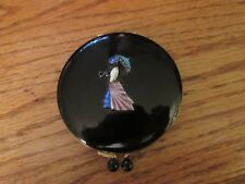 Rare Vintage Black Makeup Powder Compact Lady Woman with Parasol New, Unused