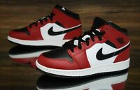 "Nike Air Jordan 1 Mid (GS) ""Chicago Black Toe"" Red 554725-069 Kid's Shoes NEW"