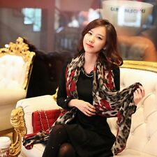 Fashion Red Leopard Stylish Long Soft Silk Chiffon Scarf Wrap Shawl Women Scarf
