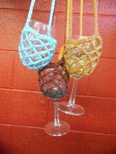Lot of 10 Crochet Wine Glass Yoke Lanyard Necklace, Hands Free Holder