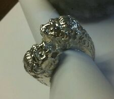 Double lions ring in sterling silver