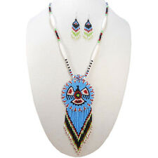 TURQUOISE BLUE NATIVE AMERICAN STYLE EAGLE SET OF NECKLACE EARRINGS