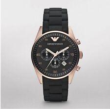 Emporio Armani AR5905 Sportivo Rosetone Chronograph Black Silicone Mens Watch