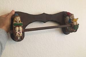 Vintage Wood Carved Gnome Towel Rack Holder Wall Mount Elf Bathroom