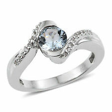 Statement 925 Ring Silver Created Sapphire Aquamarine for Women Size 7 Cttw 4.7