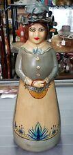 Vintage Folk Art Painted Glass Bottle Lady Sculpture