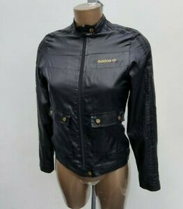 Women's adidas Originals Wet Look Shiny Zip Tracksuit Black Gold Jacket Size 8