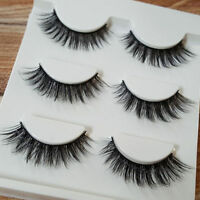 DE/3 Paar Natural 3D falsche Wimpern Kosmetik Dick Handmade False Eyelashes//