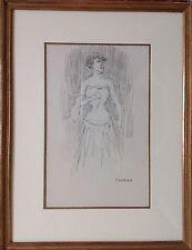 Paul THOMAS Limoges 1866-1910.Elégante en pied.Dessin.SBD.27x17.Encadré42x32