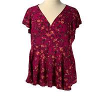 Torrid Blouse NWOT Pink Floral Short Sleeve V-Neck Top Size XL