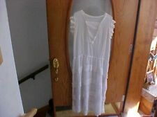 Antique vintage woman's Handmade white dress- with crocheted covered buttons