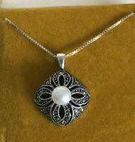 """Sterling Silver Marcasite Filigree Centered Pearl Pendant JC 925 Italy 18"""" Chain"""