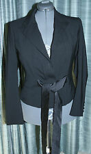 YVES SAINT LAURENT RIVE GAUCHE Womens Black Jacket Blazer Wool Lycra Xlnt S 40