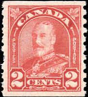 Canada Mint H 1930 2c F-VF Scott #181 KGV Arch Leaf Coil Stamp