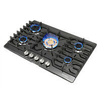 "Black 30"" Titanium 5 Burners & Gold Built-in Stoves LPG Natural Gas Cooktops"