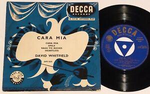 "DAVID WHITFIELD - Cara Mia - UK 7"" EP vinyl p/s 1955"