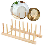 Wooden 7 Dishes Rack Kitchen Storage Drying Holder Drainer Plate Cup  Stand