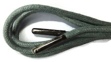 5mm Round Waxed Cotton - METAL TIPPED Shoelaces - ANY LENGTH - boot shoe lace