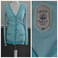 Superdry Women's White Blue Striped Cardi Top Blouse Long Sl. 100% Cotton Small