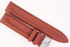 Uhrenarmband 18mm Kalbsleder im Carbon-Look Braun Doppelnaht Länge: M
