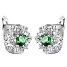 Women Fashion 925 Silver Green Emerald Flower Stud Hoop Earring Wedding Jewelry