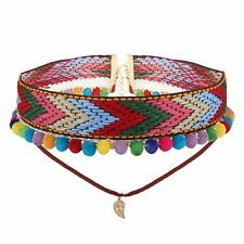 Boho women choker necklace, hippie bohemian collar festival rainbow jewellery
