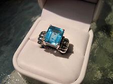 Clyde Duneier 14k 925 Sterling Silver 12mm x 10mm Blue Topaz Ring CID size 7