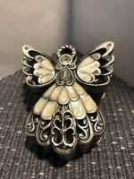 Angel Trinket Box Pewter Look Faux Diamonds Resin