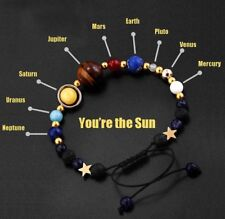 2017 Universe Solar System Galaxy Eight Planets Stone Bead Braided Bracelet Gift