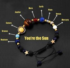 2018 Universe Solar System Galaxy Eight Planets Stone Bead Braided Bracelet Gift
