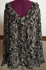 Venezia Jeans Clothing Co. Black Brown Ruffle Paisley Blouse Top Size 22/24