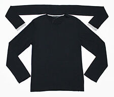 $328 DIWON Attached-Scarf Cashmere-Silk Rib Long-Sleeve Black Tee T-Shirt Small