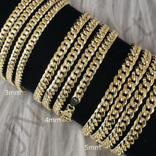 "10K Yellow Gold 3mm 4mm 5mm Real Miami Cuban Link Chain Necklace 16""-30"""