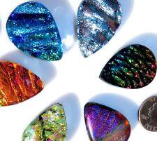 6 Dichroic MEDIUM Tear Cabochons CAB TILE PENDANT Mosaic MULTICOLORED