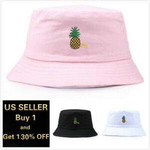 Pineapple Bucket Hat Cap Cotton Fishing Boonie Brim visor Sun Safari Summer
