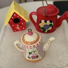 "Lot of 3 Me Mary Engelbreit 2"" Christmas Ornaments~Teapot~Watering Can~Birdh"