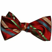 "NEW! Hand Made. 100% Silk. RED GREEN GOLD Stripes SELF TIE Bow Tie. 2.5"" Wide"