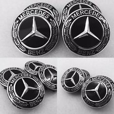 MERCEDES 2017 NEW STYLE BLACK ALLOY WHEEL CENTRE CAPS A BC E S ML CLASS AMG 75MM