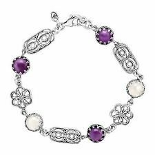 Silpada 'pastel Petals' 2 Ct Natural Amethyst & Rose Quartz Floral Bracelet in