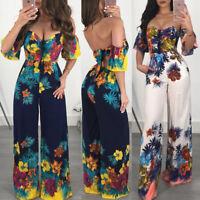 Women Ladies Floral wide legs Bodycon Jumpsuit V-neck Romper Trousers Clubwear