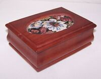 Vintage Wood Trinket Box with Flower Fabric Inlay and Green Felt Lining