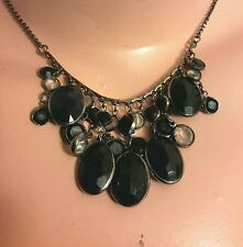 NEXT black gem cluster necklace goth steampunk clubbing, from UK , free p&p