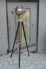 Vintage Industrial DESIGNER Chrome Nautical SPOT LIGHT Tripod Floor LAMP Decor